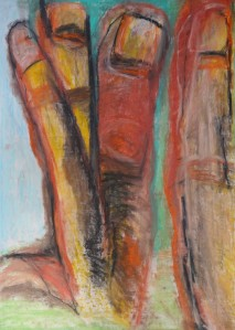Body of Roots, 2021, 100 cm x 70 cm, oil pastel and charcoal on paper