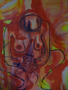 Clara Bolle and Chris Bosch, 2020, 100 cm x 70 cm, acrylic paint on paper