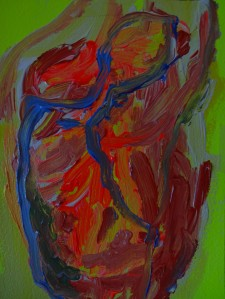 Heart 2, 2020, 26 cm x 18 cm, acrylic paint on paper - 100 euro's