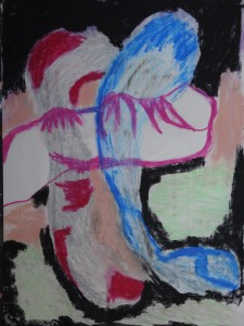 Hand 20, 2021, 100 cm x 70 cm, charcoal and oil pastel on paper - 650 euro