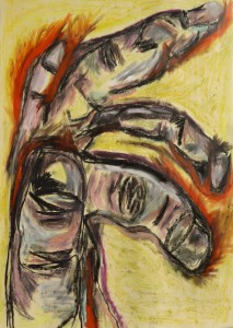 Hand, 2020, 100 cm x 70 cm, charcoal and oil pant on paper - 450 euro