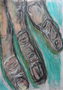 Hand 3, 2020, 100 cm x 70 cm, oil pastel and charcoal on paper