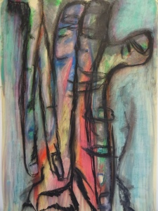 Hand 4, 2020, 100 cm x 70 cm, oil pastel and charcoal on paper
