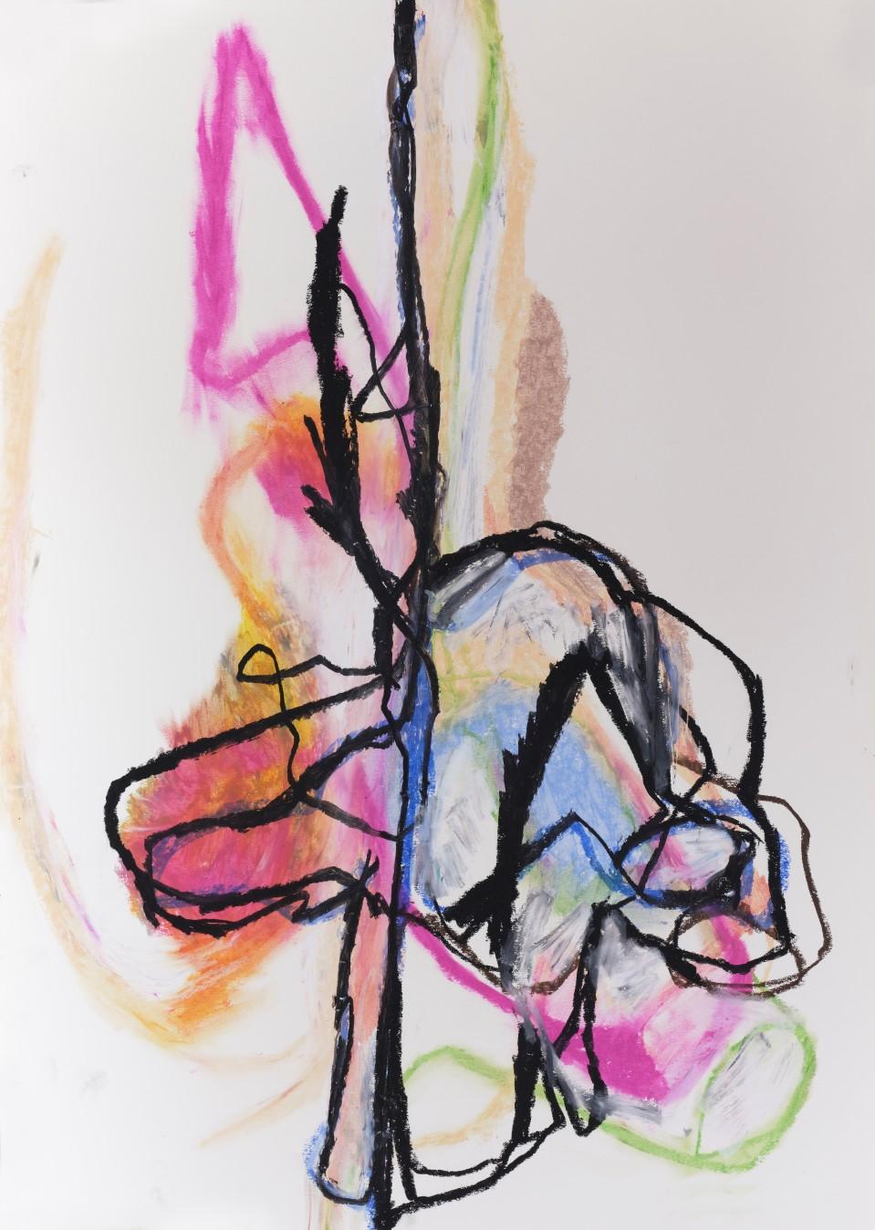 Hermaphroditus 2, 2019, 65 cm x 50 cm, oil pastel on paper