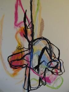 Hermaphroditus, 2019, 65 cm x 50 cm, oil pastel on paper