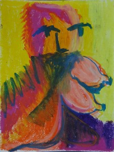 Horse/Girl 3, 2019, 32 cm x 24 cm, oil pastel on paper