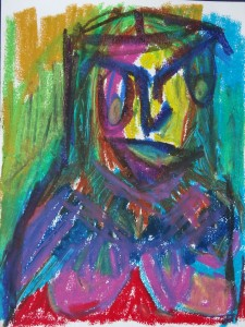 Jeanne, 2019, 32 cm x 24 cm, oil pastel on paper