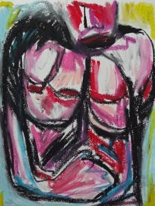 Metamorphine portrait 2, 2019, 32 cm x 24 cm, oil pastel on paper