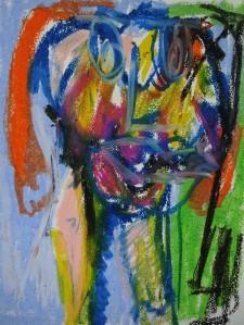 Metamorphine portrait, 2019, 32 cm x 24 cm, oil pastel on paper