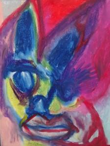 When reason sleeps 6, 2019, 32 cm x 24 cm, oil pastel on paper